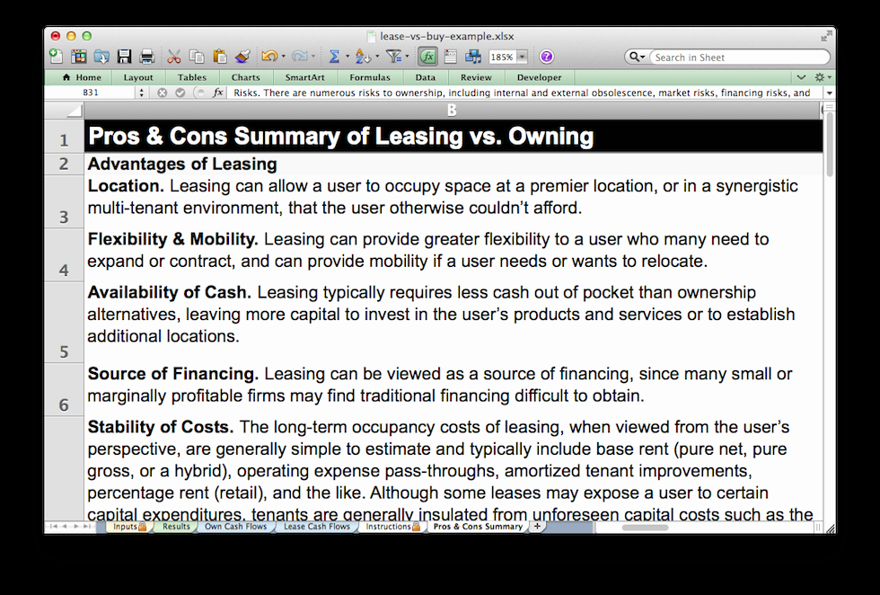 Pros and Cons Analysis Template Fresh Lease Vs Own Analysis Template