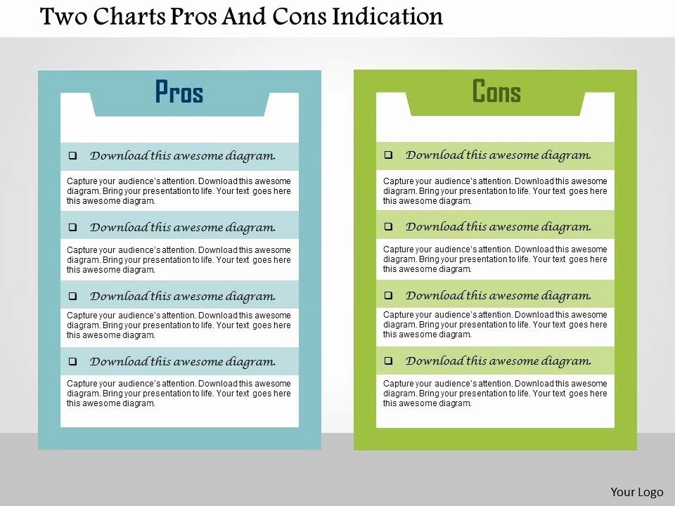 Pros and Cons Analysis Template Fresh Two Charts Pros and Cons Indication Flat Powerpoint Design
