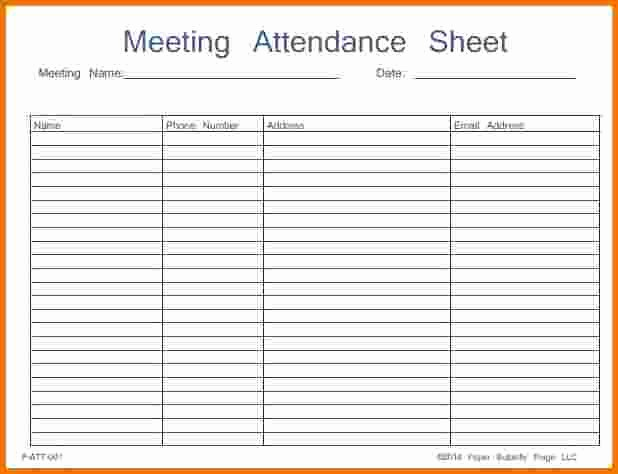 Pta Meeting Sign In Sheet Awesome 46 Best attendance Sheet Template Examples for Classroom