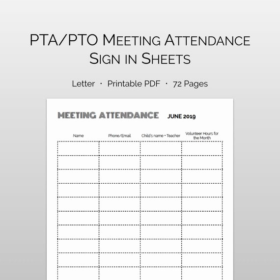 Pta Meeting Sign In Sheet Awesome 86 Pta Meeting Sign In Sheet Parent Teacher