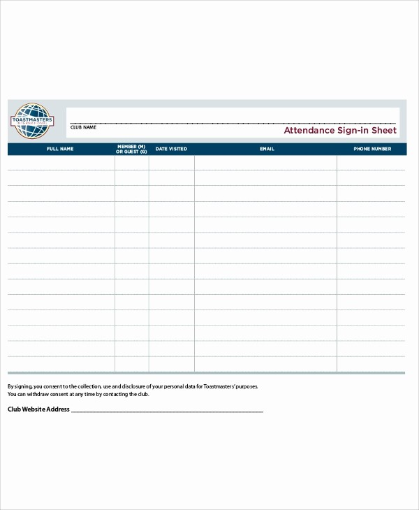 Pta Meeting Sign In Sheet Inspirational 10 Sample Printable Sign In Sheets