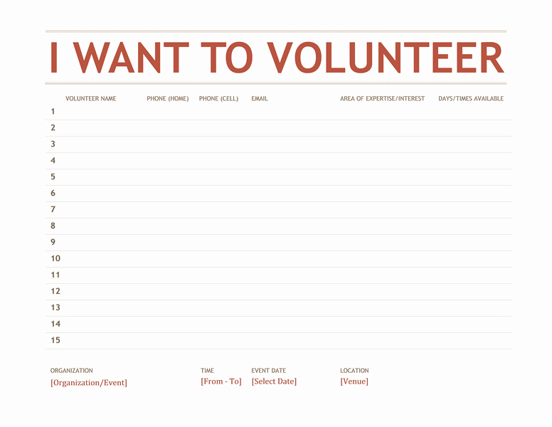 Pta Meeting Sign In Sheet New Volunteer Sign Up Sheet Templates