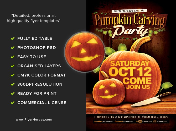 Pumpkin Carving Contest Flyer Template Beautiful Fall Pumpkin Carving Flyer Template Flyerheroes
