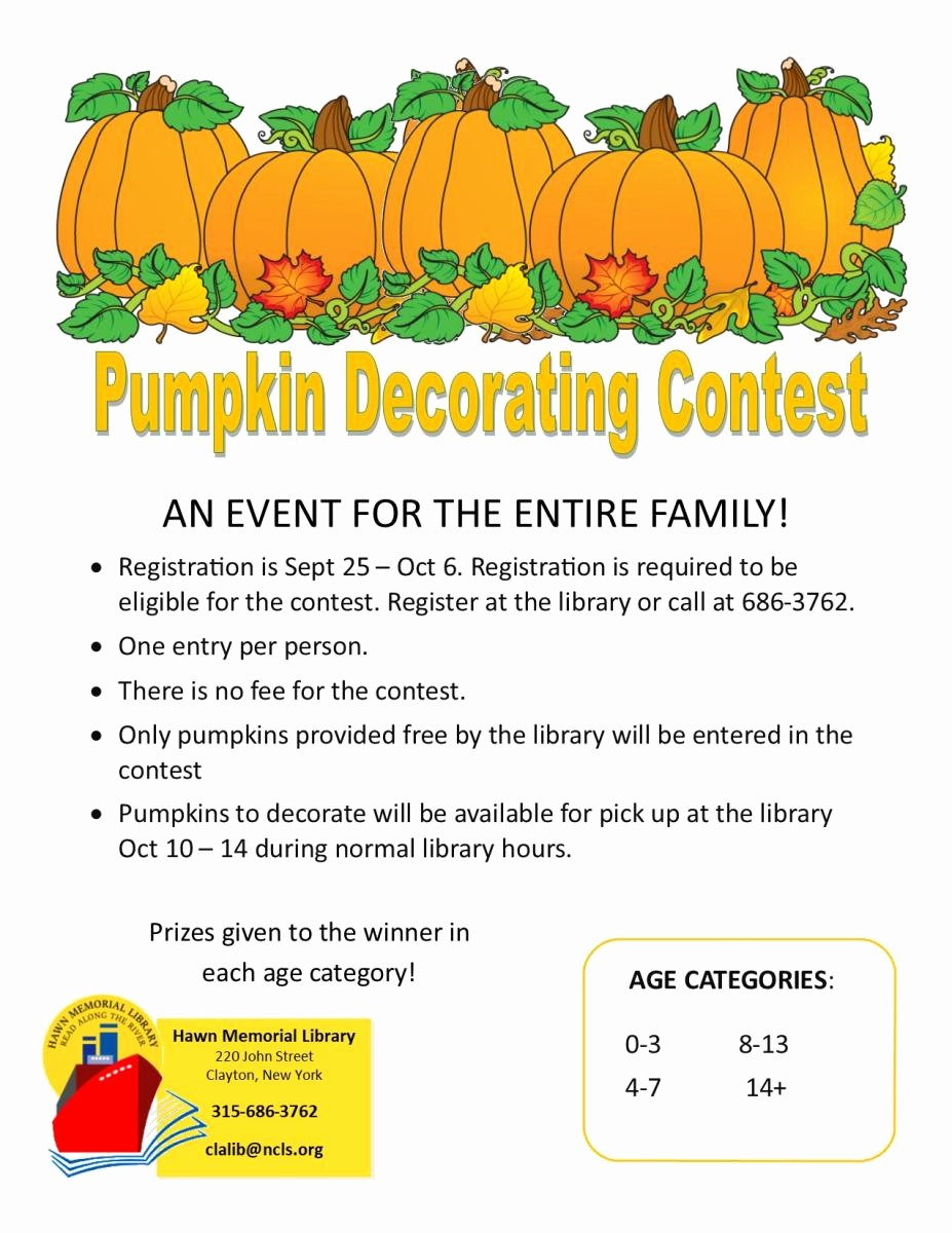 Pumpkin Carving Contest Flyer Template Inspirational Pumpkin Decorating Contest