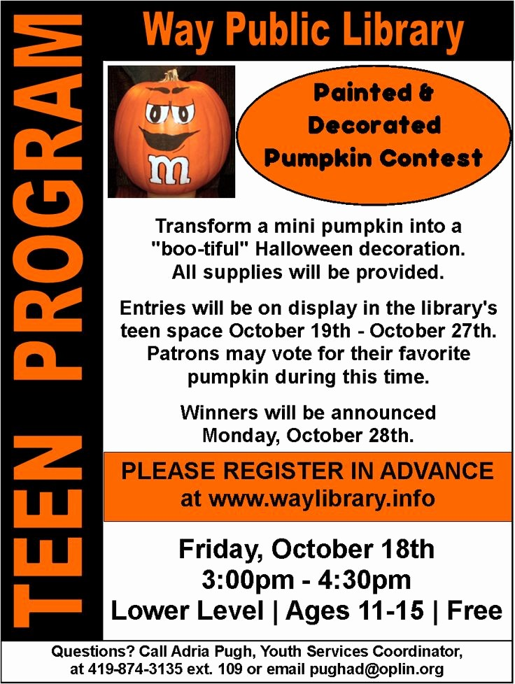 Pumpkin Carving Contest Flyer Template Unique 179 Best Library Pumpkin Contest Images On Pinterest