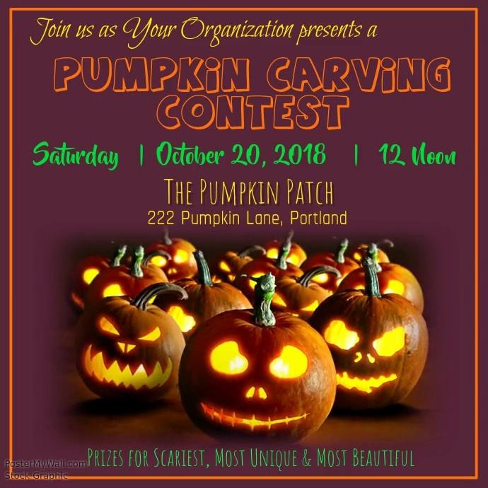 Pumpkin Carving Contest Flyer Template Unique Pumpkin Carving Contest Video Template