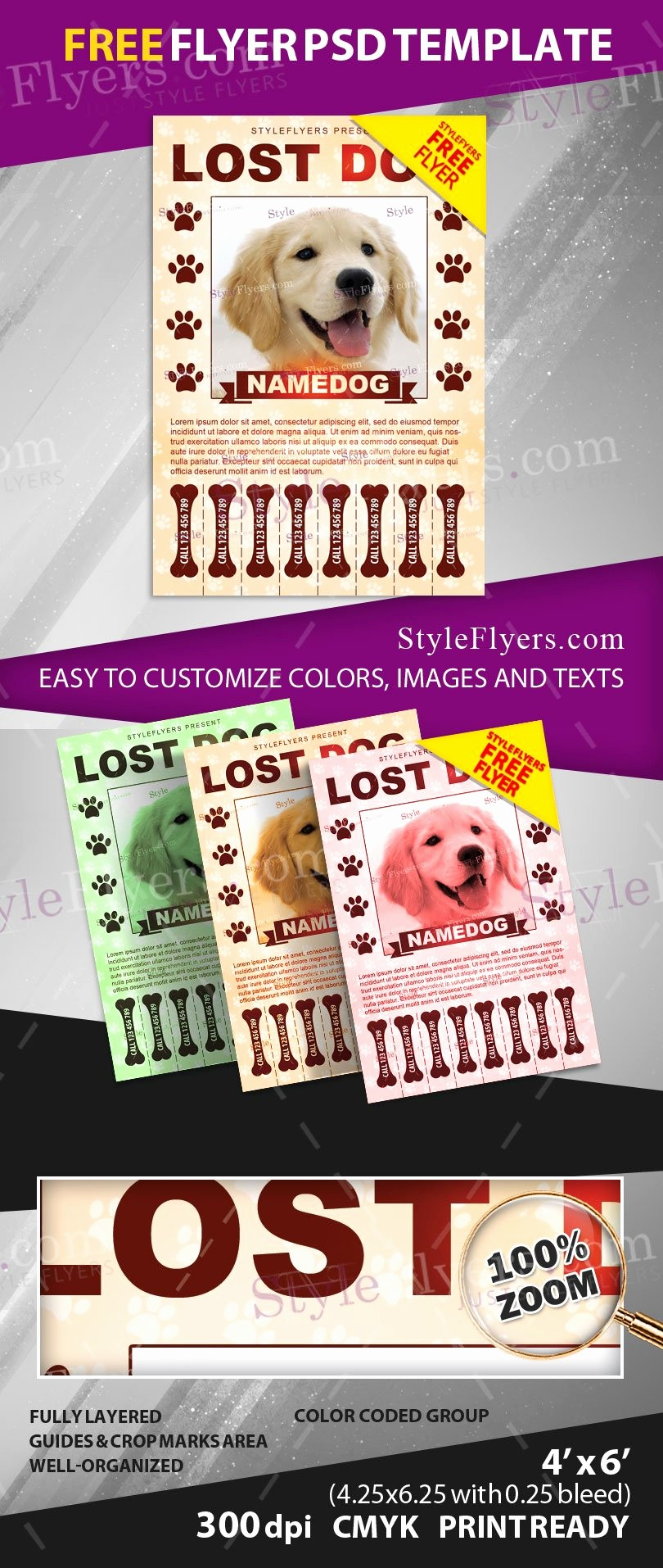 Puppies for Sale Flyer Template Beautiful Lost Dog Free Psd Flyer Template Free Download