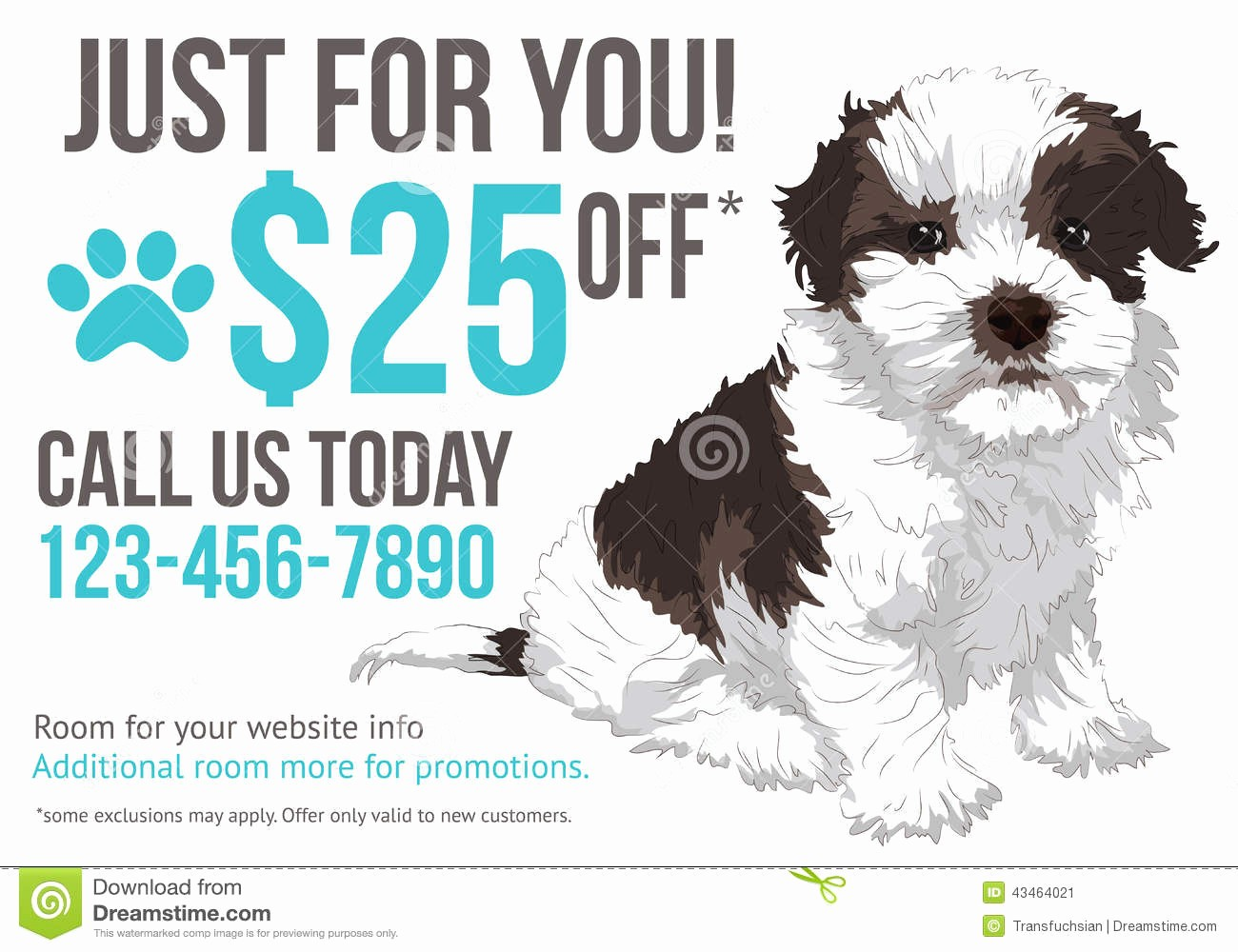 Puppy for Sale Flyer Templates Lovely Grooming Advertisement Postcard Template Stock Vector