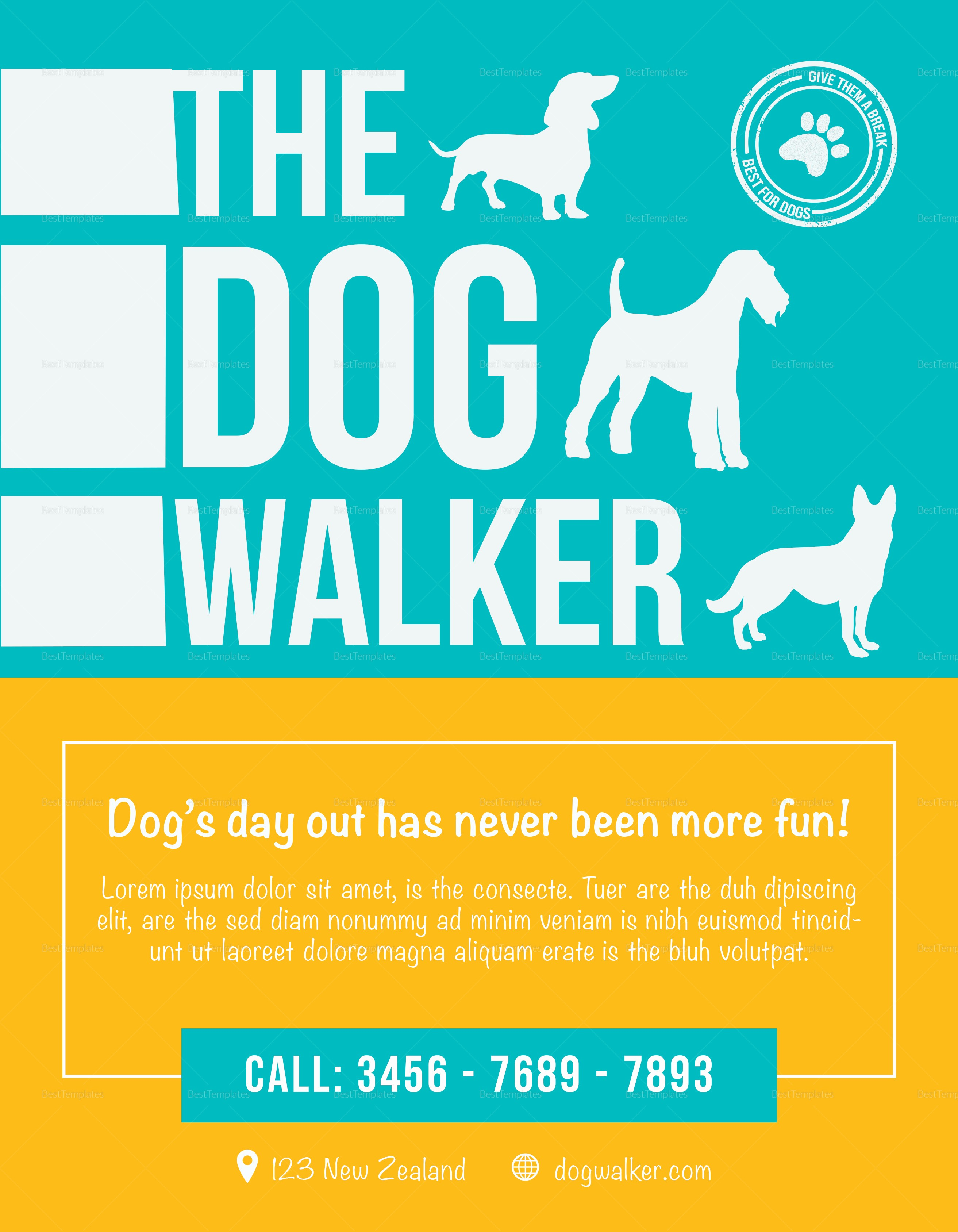 Puppy for Sale Flyer Templates New Dog Walker Flyer Design Template In Psd Word Publisher