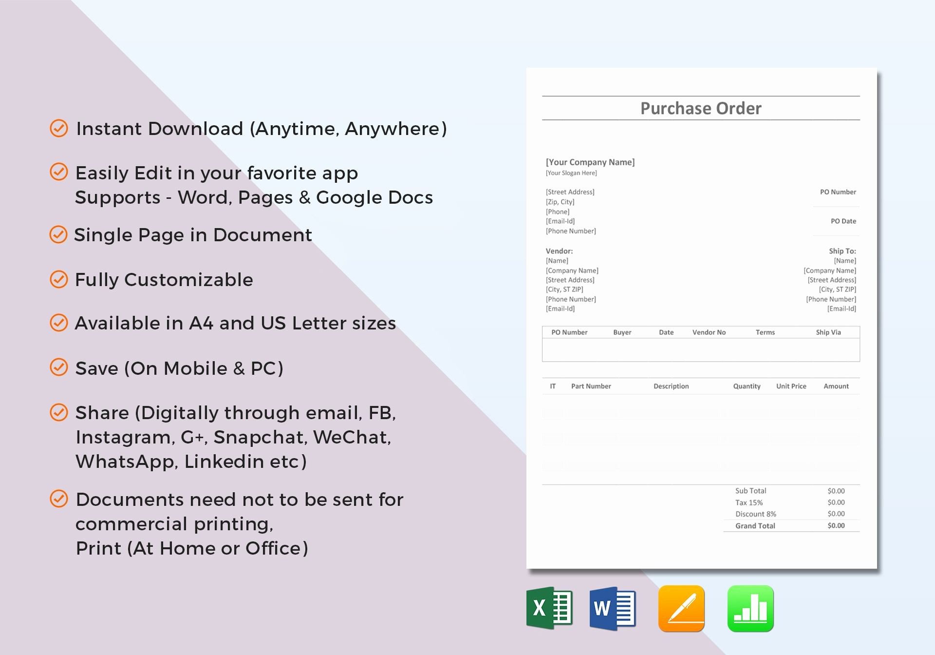 Purchase order Template Microsoft Word Awesome Simple Purchase order Template In Word Excel Apple Pages
