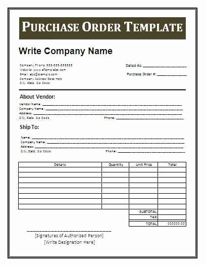 Purchase order Template Microsoft Word Fresh 11 Sample order form Templates Word Excel Pdf formats