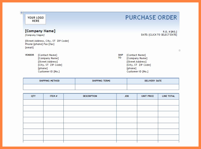 Purchase order Template Microsoft Word Luxury 6 Microsoft Office Purchase order Template