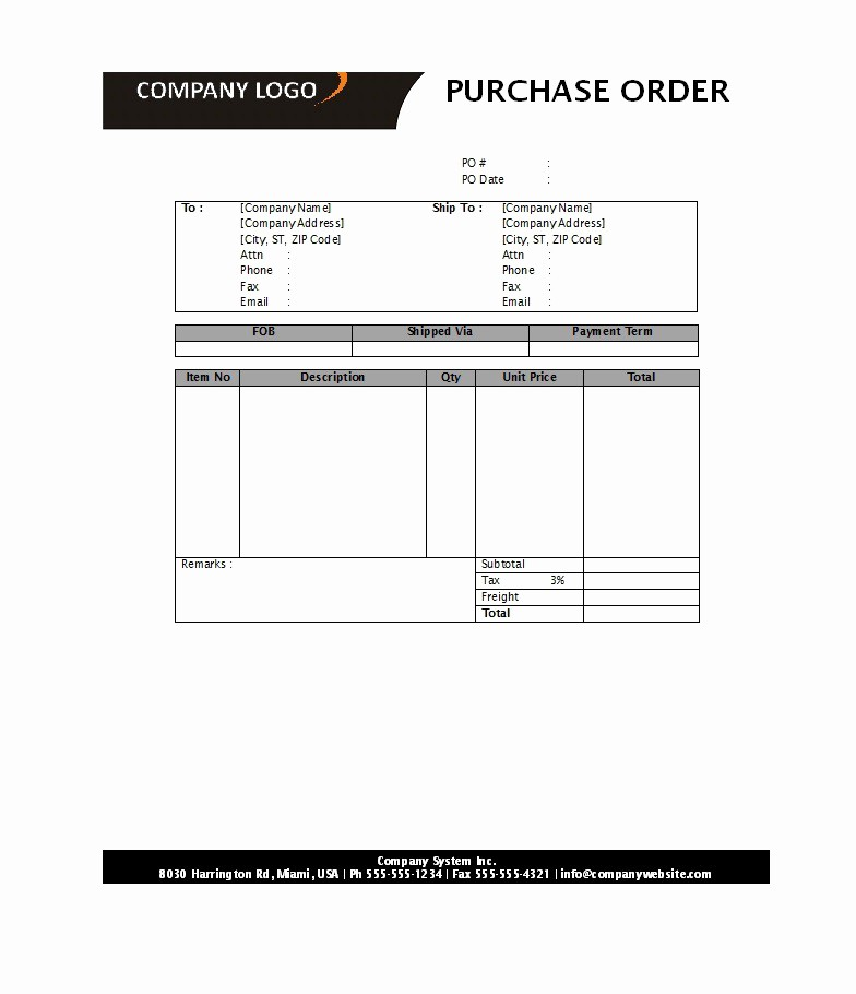 Purchase order Template Microsoft Word New 39 Free Purchase order Templates In Word & Excel Free