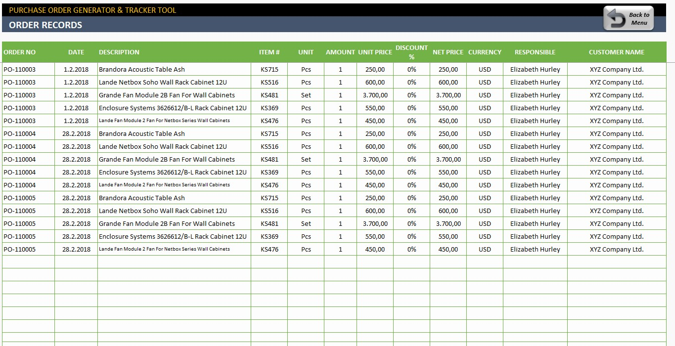 Purchase order Tracking Excel Sheet Fresh Purchase order Tracking Spreadsheet – Spreadsheet Template
