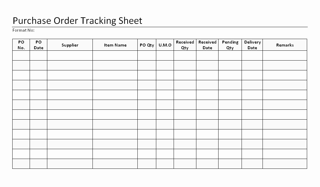 Purchase order Tracking Excel Sheet Unique Purchase order Tracking Sheet