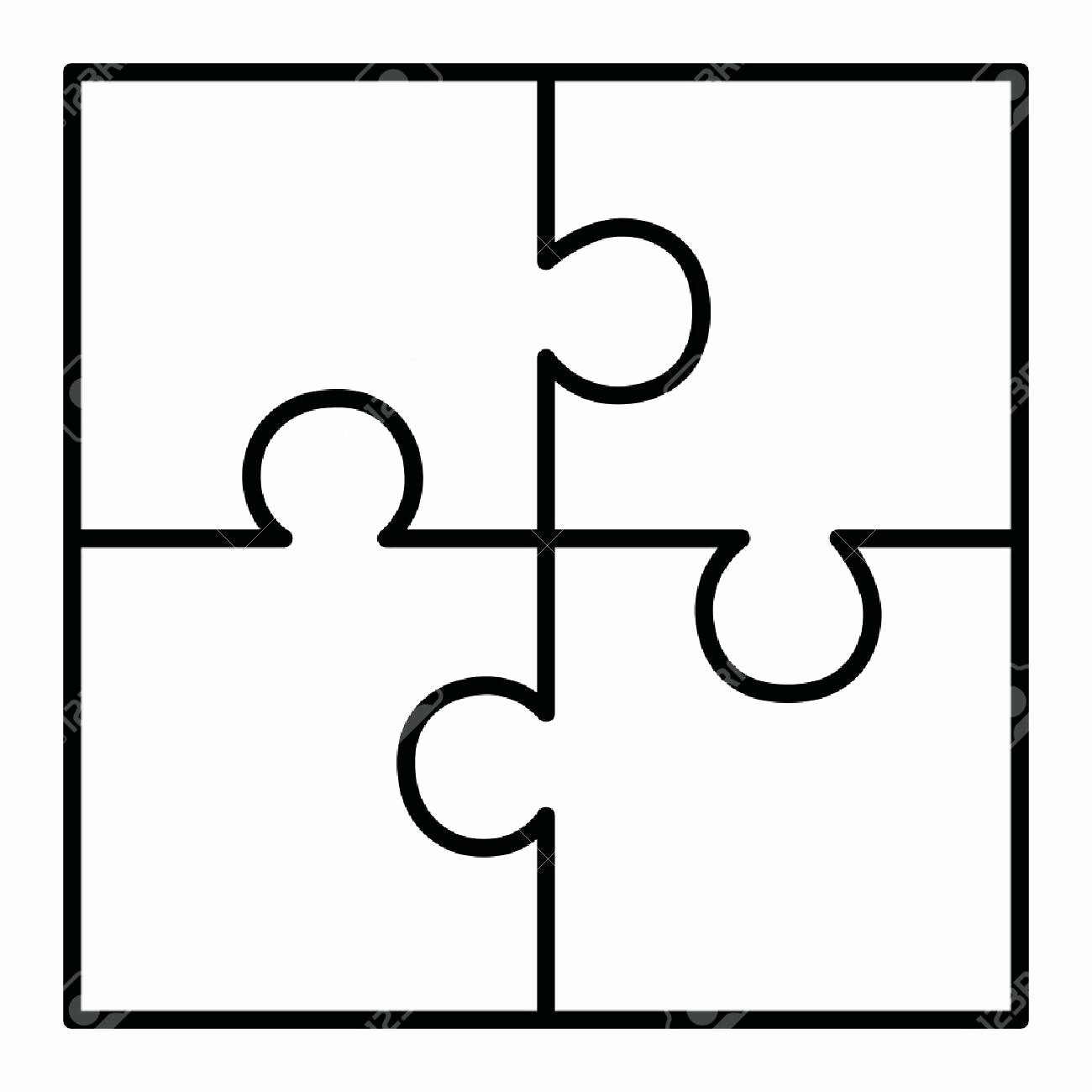 Puzzle Pieces Template for Word Beautiful Template 4 Piece Puzzle Template