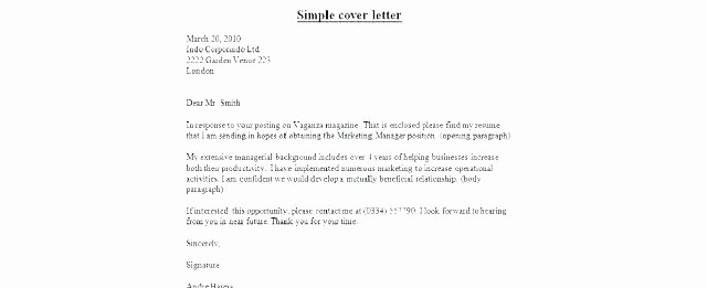 Quick and Easy Cover Letters Inspirational Simple Cover Letter Examples Viewletter Co