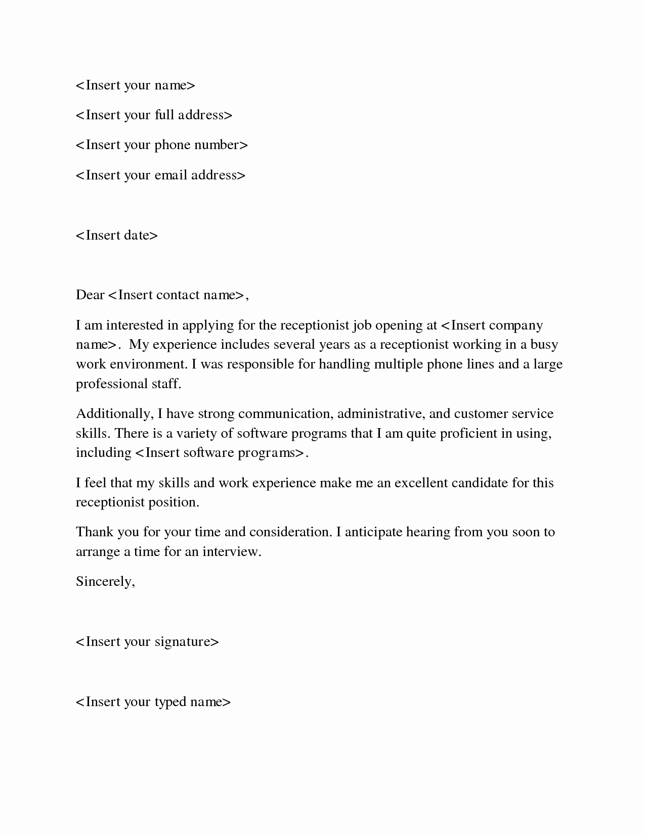 Quick and Easy Cover Letters Lovely Cover Letter Help Receptionist Resume top Essay