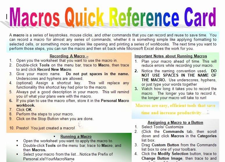 Quick Reference Card Template Word Awesome Macro Quick Start Guide