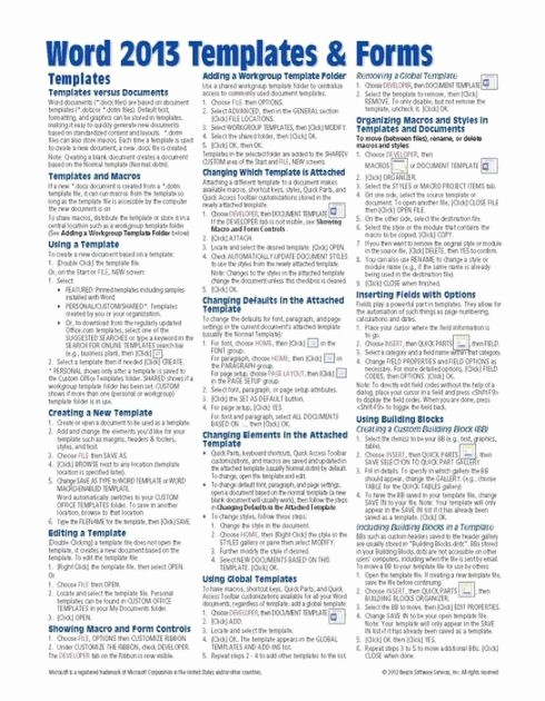 Quick Reference Card Template Word Beautiful Microsoft Word 2013 Templates & forms Quick Reference
