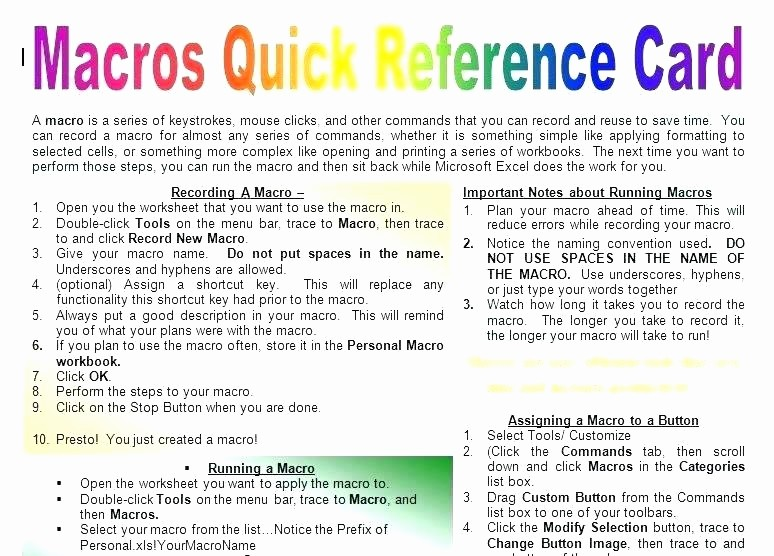 Quick Reference Card Template Word Fresh Word Template Macros the Close button Macro – Flirty
