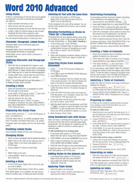 Quick Reference Card Template Word Lovely Microsoft Word 2010 Advanced Quick Reference Guide Cheat