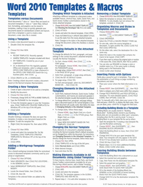 Quick Reference Card Template Word Lovely Microsoft Word 2010 Templates & Macros Quick Reference