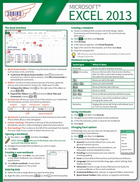 Quick Reference Card Template Word Luxury Excel 2013 Qrc