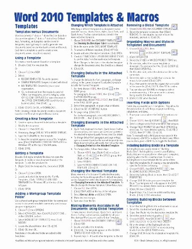 Quick Reference Card Template Word Luxury Microsoft Word 2010 Templates Macros Quick Reference Guide