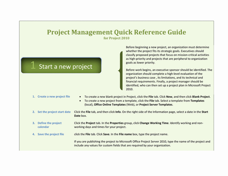 Quick Reference Card Template Word New Project 2010 Quick Reference Guide Template for Word 2010