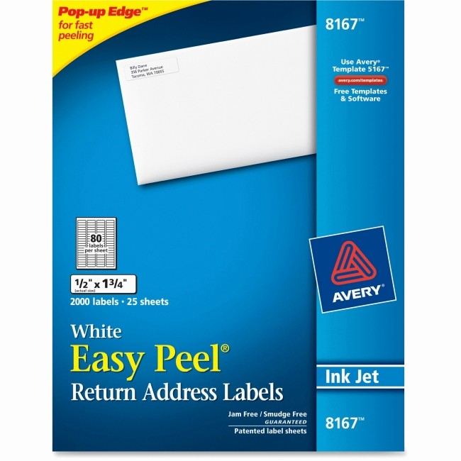 "Quill Laser Address Labels Template Lovely Avery 8167 Easy Peel Address Label 0 50"" Width X 1 75"