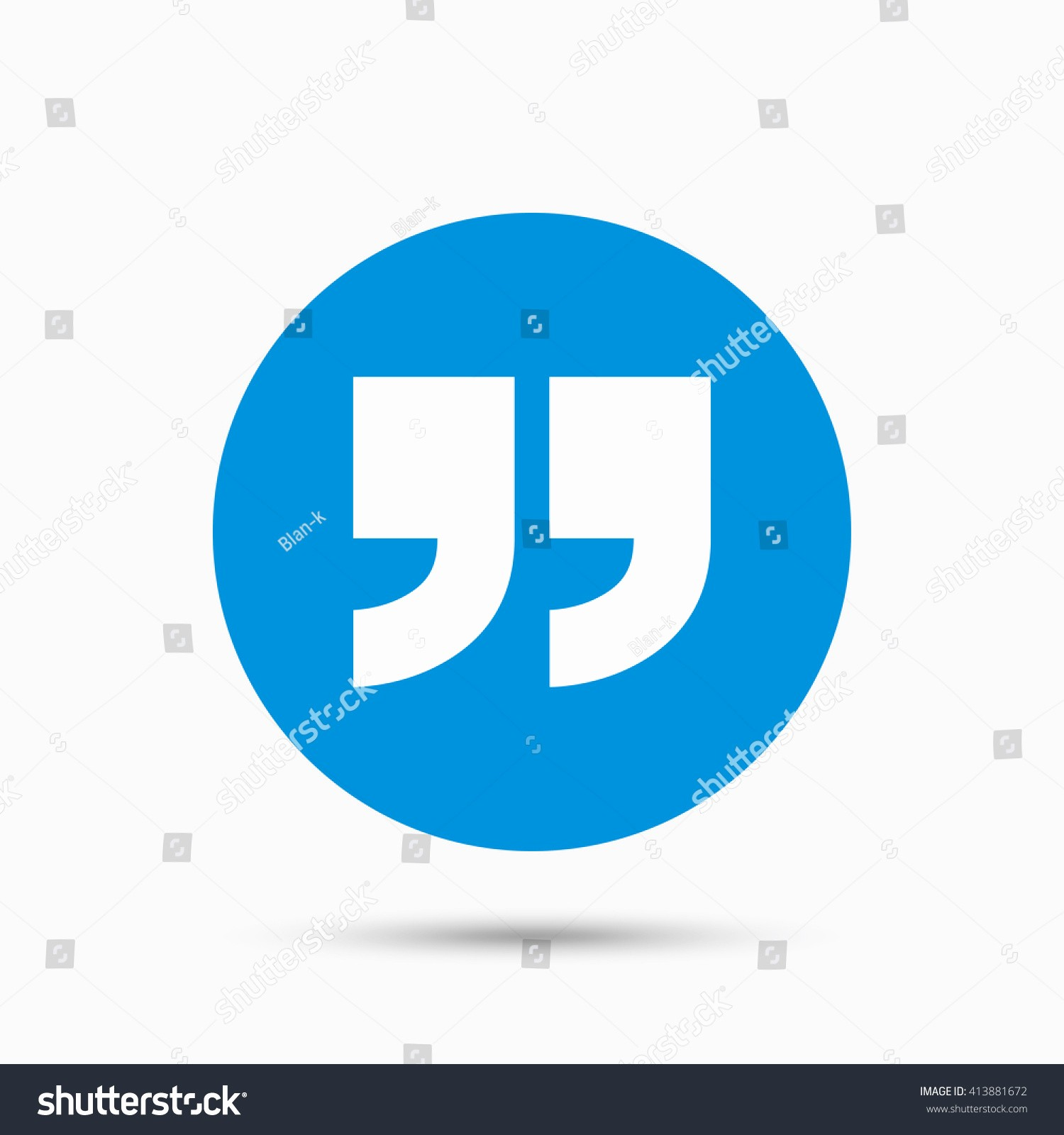 Quotes with the Word Blue Beautiful Quote Sign Icon Quotation Mark Symbol Stock Vector
