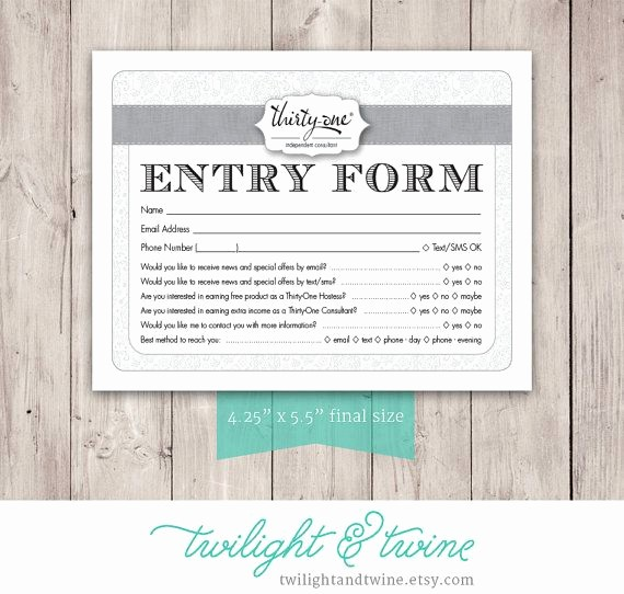 Raffle Entry form Template Word Awesome Thirty One Drawing Entry form Pdf Printable Template