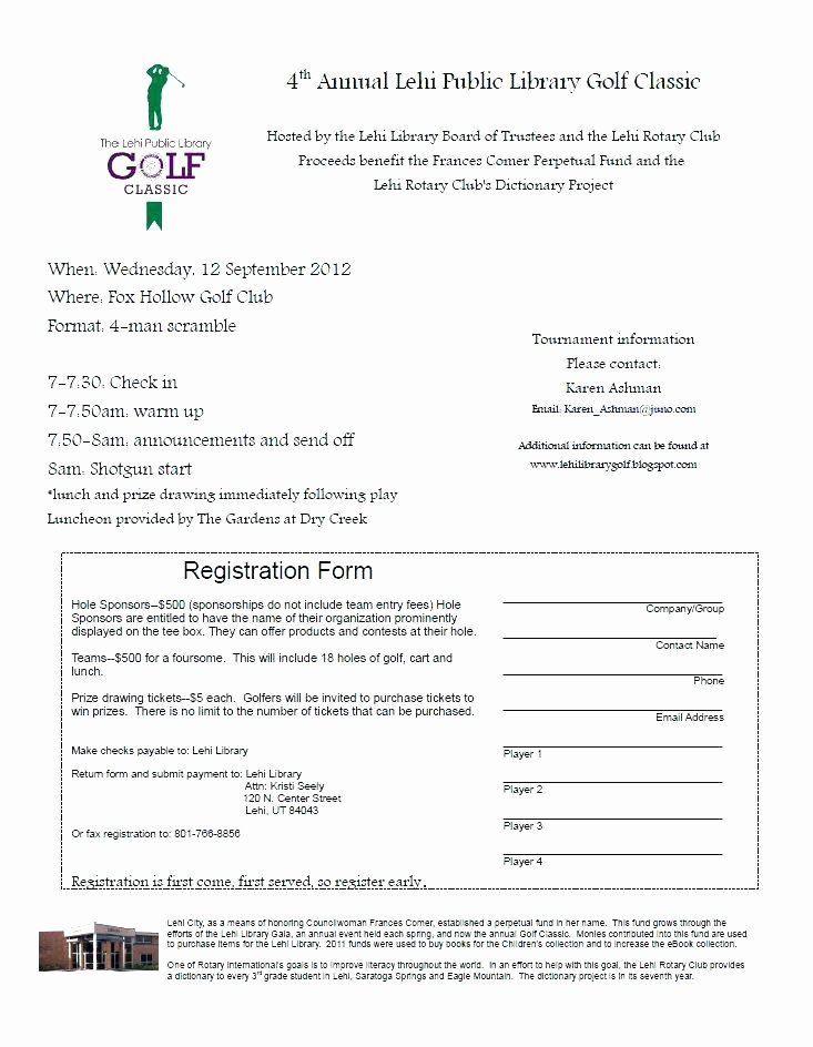 Raffle Entry form Template Word Inspirational Golf tournament Registration form Template Outing – Illwfo