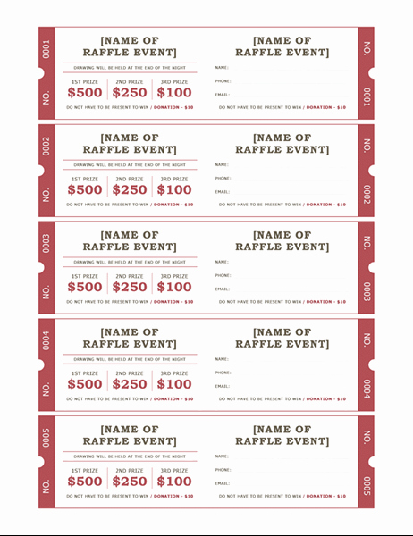 Raffle Entry form Template Word Luxury Raffle Tickets