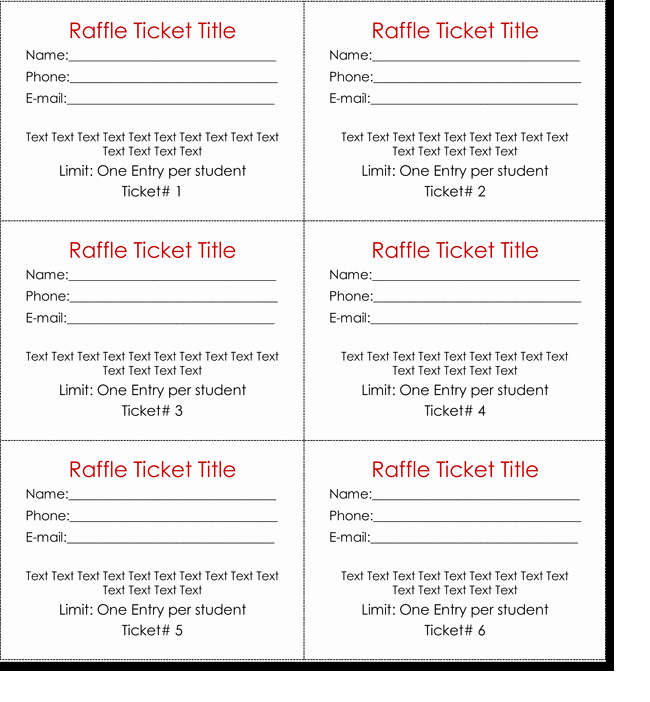 Raffle Entry form Template Word New 20 Free Raffle Ticket Templates with Automate Ticket
