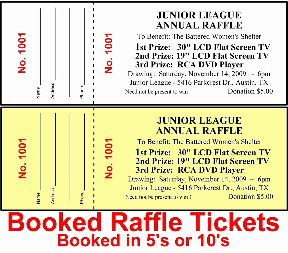 Raffle Ticket Samples for Fundraisers Unique 500 Raffle Tickets Drawing Custom Printed Staple Booked