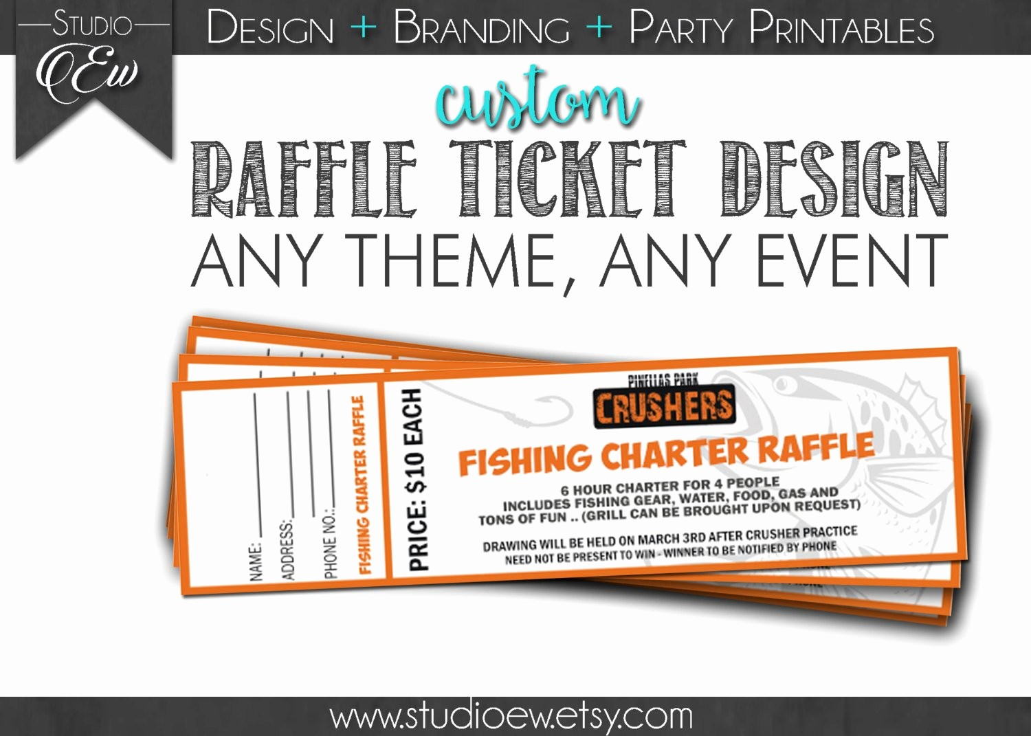 Raffle Ticket Samples for Fundraisers Unique Custom Raffle Ticket Design Any event Any theme Fundraiser