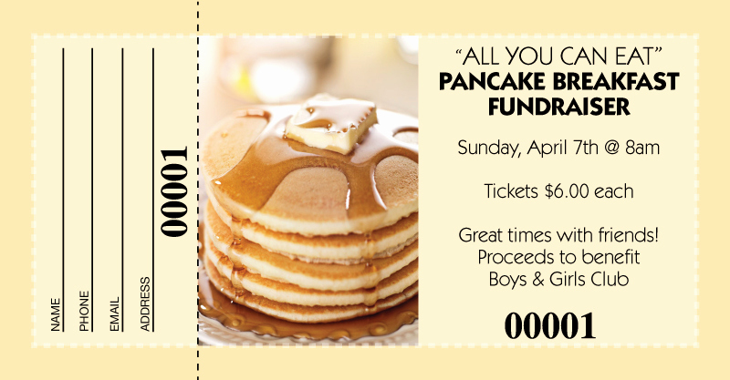 Raffle Ticket Samples for Fundraisers Unique Pancake Breakfast Raffle Tickets