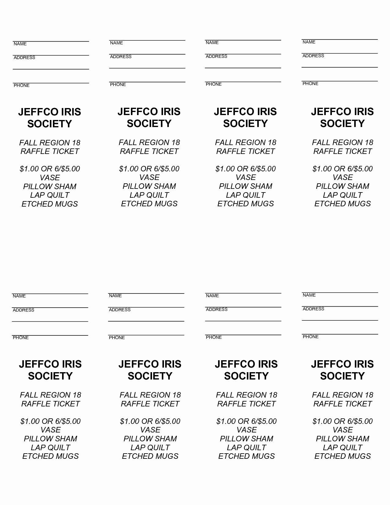 Raffle Ticket Samples Templates Free New 4 Best Of Free Printable Raffle Ticket Templates