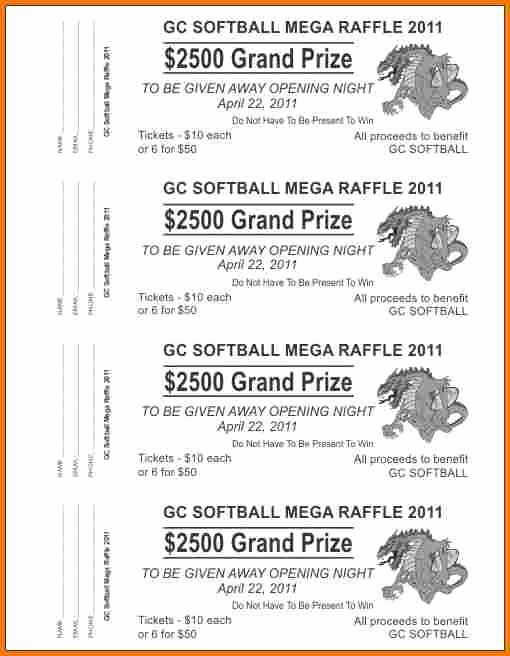 Raffle Ticket with Stub Template Best Of Raffle Ticket Template Word