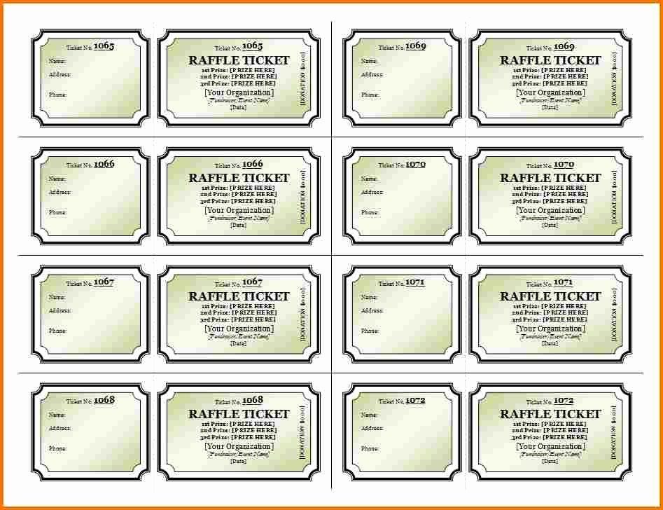 Raffle Ticket with Stub Template Inspirational Raffle Ticket Template Free
