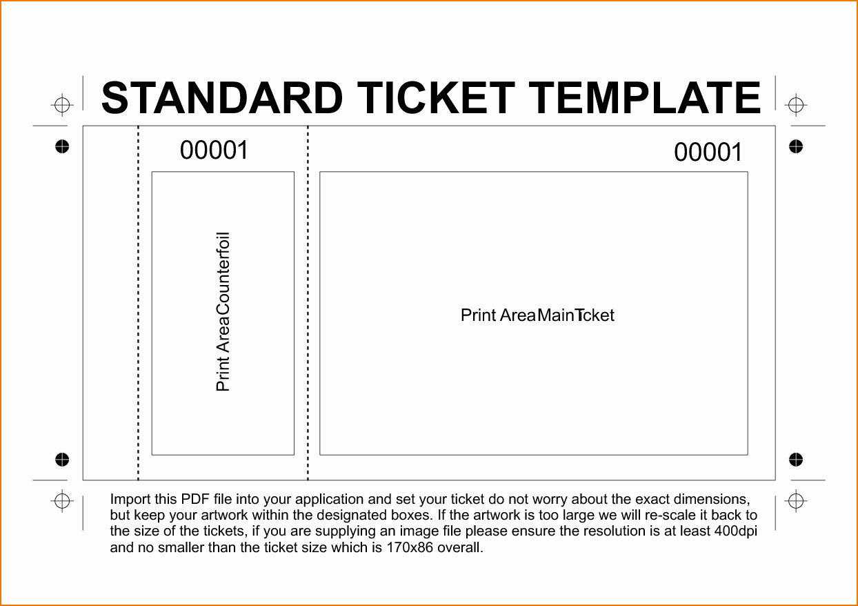 Raffle Ticket with Stub Template Lovely Template Concert Ticket Template Concert Ticket Template