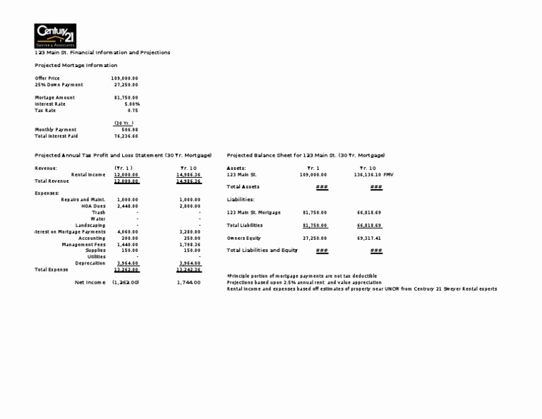 Real Estate Balance Sheet Sample New Rental Property In E Statement and Balance Sheet