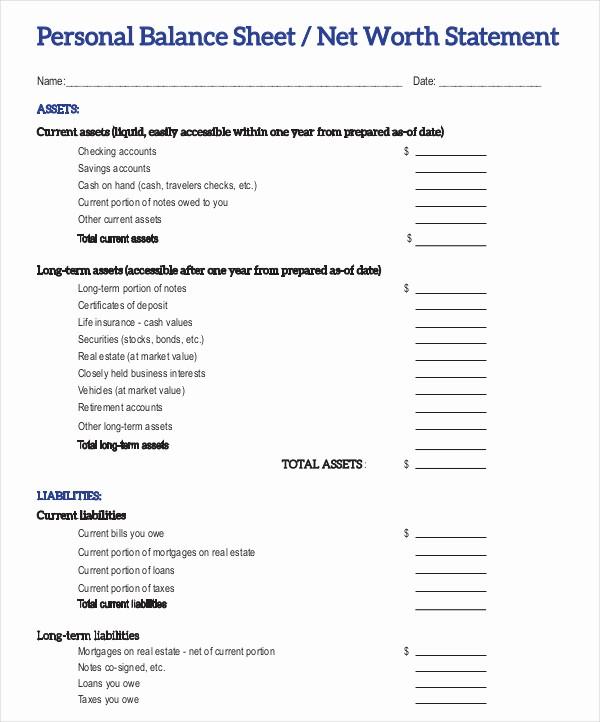 Real Estate Balance Sheet Sample Unique Personal Balance Sheet Template