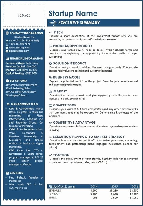 Real Estate Executive Summary Template Elegant Executive Summary Template for Startup A One Page with