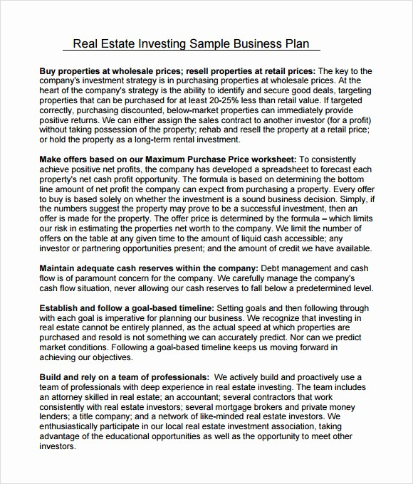 Real Estate Executive Summary Template Fresh 10 Real Estate Business Plan Templates