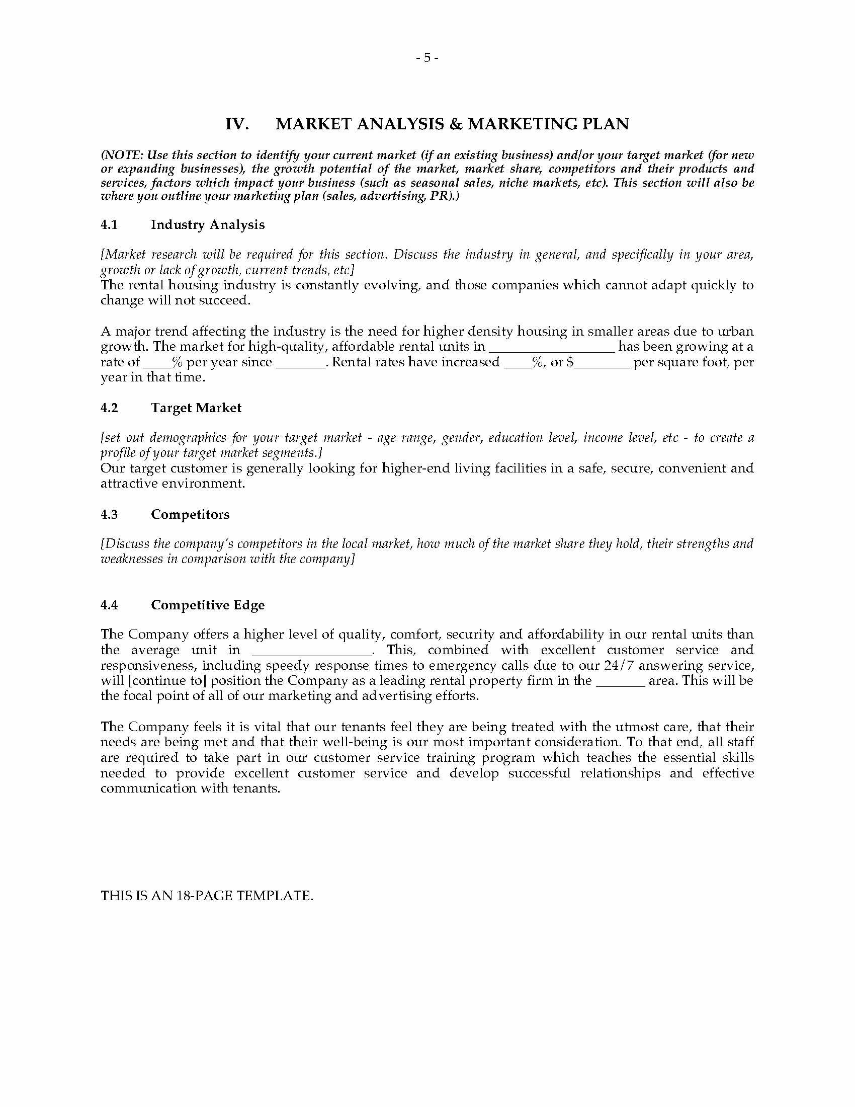 Real Estate Executive Summary Template Inspirational Property Management Pany Business Plan