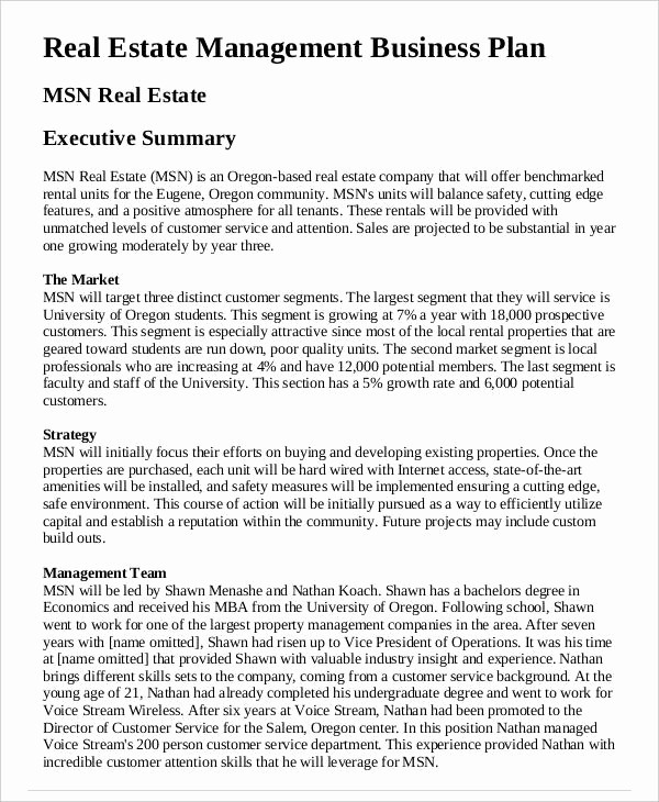 Real Estate Executive Summary Template New 29 Free Business Plan Templates