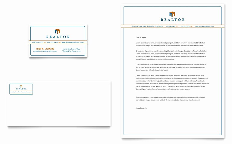 Real Estate Letterhead Templates Free Awesome Real Estate Agent Business Card & Letterhead Template